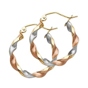 Women's 14k Tricolour Gold Curled Hollow Hoop Earrings (2cm ) - by American Set Co.