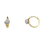Women's 14k Yellow Gold Pave CZ Huggies Small Hoop Ring Earrings (0.5cm x 0.5cm ) - by American Set Co.