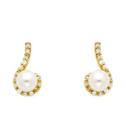 Women's 14k Yellow Gold Pearl & Pave Round CZ Small Tiny Baby Post Earrings (0.6cm ) - by American Set Co.