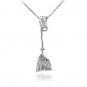 Fine 10k White Gold Broom Stick Charm Pendant Necklace