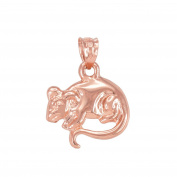 Polished 10k Rose Gold Rat Mouse Charm Pendant