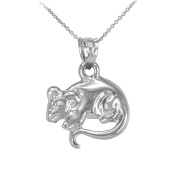 Polished 925 Sterling Silver Rat Mouse Charm Pendant Necklace