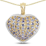 14K Yellow Gold Plated 2.27 Carat Genuine Tanzanite .925 Sterling Silver Heart Shape Pendant