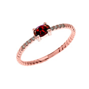 Dainty 10k Rose Gold Diamond and Solitaire Oval Garnet Rope Design Stackable/Proposal Ring