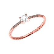 10k Rose Gold Dainty Diamond and Solitaire White Topaz Rope Design Stackable/Proposal Ring