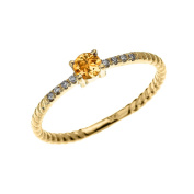 10k Yellow Gold Dainty Diamond and Solitaire Citrine Rope Design Stackable/Proposal Ring