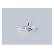 Hi-summer Elegant Little Tree Leaf Sterling Silver Open Ring