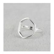 Hi-summer Innovative Hexagon Sterling Silver Open Ring