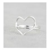 Hi-summer Innovative Heart Shape Sterling Silver Open Ring