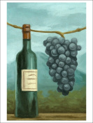 Blue Grapes and Wine Bottle - Oil Painting