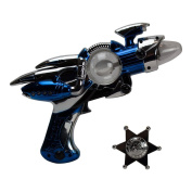 Galactic 5-Piece Bundle with Outer Space Light-Up Toy Ray Gun and Clip-On Silver-Tone Plastic Badge for Dress Up and Imaginative Play