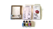 Rubbernecker cling stamp Thorny Rose with Freehand Border Phrase Set and Ken Oliver Stitched Kraft with Water-Media Cards Bundle