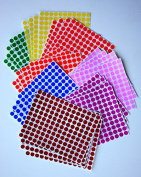 "KIDS coloured ROUND DOTS 3/8 "" inch (0.375"") 8 colours - 32 SHEETS -10mm - Arts, Crafts, Fun and Games Stickers - 4832 PACK"