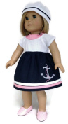White, Pink, & Navy Dress with Anchor & Hat