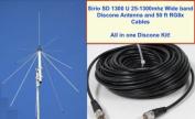 SIRIO SD 1300 Discone Antenna 25 MHz - 1.3 GHz with 15m RG8x Coax