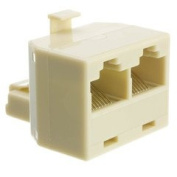 Dealsjungle Phone Splitter (Straight), RJ45 8P8C Male to 2 RJ45 8P8C Female