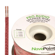 NavePoint 30m In Wall Audio Speaker Cable Wire CL2 16/2 AWG Gauge 2 Conductor Bulk Clear