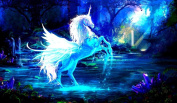 Unicorn Pegasus TCG playmat, gamemat 60cm wide 36cm tall for trading card game smooth cloth surface rubber base