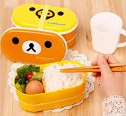 Drhob 1PCS Lovely little bear High Heat Resistance Double Layers Chopsticks Plastic Bento Lunch Box