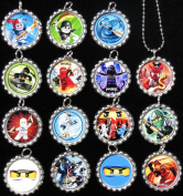 15 NINJAGO Flat Bottle Cap Necklaces for Birthday, Party Favour Set A1