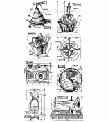 TIM HOLTZ STAMPER ANONYMOUS CLING STAMPS- THJ001 BLUEPRINT ASSORTMENT