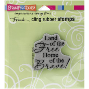 STAMPENDOUS CLING RUBBER STAMP, FREE AND BRAVE
