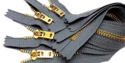 ZipperStop Wholesale Authorised Distributor YKK® Sale 23cm Jeans Zipper (Special) YKK #5 Brass Closed Bottom Colour 578 Rail Grey
