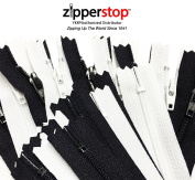 ZipperStop Wholesale - 50pcs Black & White YKK® #3 Nylon Coil Zippers Tailor Sewing Tools Garment Accessories 23cm Made in USA
