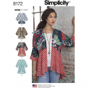 Simplicity 8172 Misses' Fashion Kimonos with Length, Fabric and Trim Variations, A