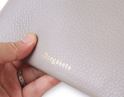 Borgasets RFID Identity Safe Leather Wallet with Removable Strap Wristlet Zip Clutch