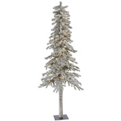 Vickerman 2.1m Flocked Alpine Artificial Christmas Tree with 300 Warm White LED Lights