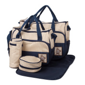 5pc/set Multifunction Baby Boom Travel Nappy Tote Bag Dark Blue