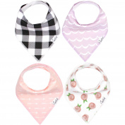 "Baby Bandana Drool Bibs for Drooling and Teething 4 Pack Gift Set For Girls ""Rosie Set"" by Copper Pearl"