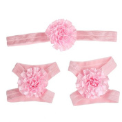 Bilila Colourful Foot Flower Barefoot Sandals + Headband Set Infants Girl Baby