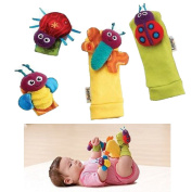 1 X Baby Wrist Rattle & Foot Finder Toys - Set of 4PCS Baby Infant Soft Toy