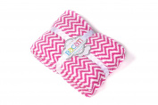 Bacati Ikat Zigzag Chevron Plush Throw, Bright Pink, 130cm x 150cm