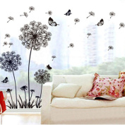 Ussore Wall Sticker Dandelion Butterfly Stickers Removable Mural PVC Creative Home Decor Removable For Kids Home Living Room House Bedroom Bathroom Kitchen Office Home Decoration