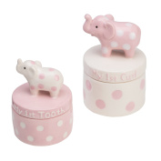 Elegant Baby Ceramic Elephant Tooth and Curl Set, Pink