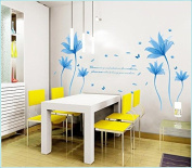 Removeable PVC Blue Flower Wall Sticker Romantic Adornments Wall Decor for Girls Room Decoration