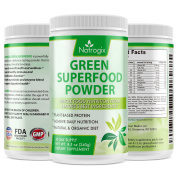 Natrogix Green Superfood Dietary Supplement - Gluten Free, Vegan Whole Food Nutrition & Powerful Antioxidant and Fibre Powder & Rich in Vitamins, Minerals and Probiotics (250ml), 30 Servings.