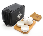 OMyTea® Portable Travel Tea Set - 100% Handmade Chinese / Japanese Vintage Kungfu Gongfu Tea Set - Porcelain Teapot & Teacups & Bamboo Tea Tray & Tea Mat with a Portable Travel Bag