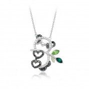 Hollow Style Happy Panda Pendant Necklace with. Elements Crystal Fashion Jewellery