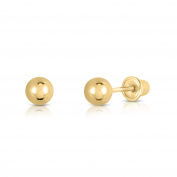 14k Yellow Gold Ball Stud Earrings with Secure Screw-backs - 3mm