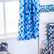 Pixels Design Ready Made Tape Top Curtain Pair with Tie Backs 170cm x 180cm - Blue