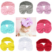 Itaar Baby Girl Headband Soft Bow Knot Cotton Head Wrap Set Of 8 Colours