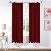 Blackout Pencil Pleat Windows Curtains - PONYDANCE Super Soft Solid Room Darkening Thermal Insulated Blackout Curtains for Home Decoration Nursery's Bedroom, 2 panels, Wide 120cm by Drop 180cm , Red