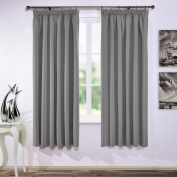 Blackout Pencil Pleat Windows Curtains - PONYDANCE Premium Readymade Thermal Insulated Window Treatment Blackout Curtains Blinds for Kid's Room Home Fashion, 2 panels, 170cm by 180cm , Grey