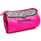 Sassi Designs Girls Pink Zebra Polka Dot Grosgrain Gymnast Medium Duffel Bag