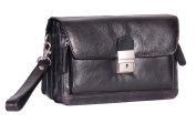 Mens Real Leather Wrist Bag Pouch Black Travel Mobile Carry All Organiser Clutch Bag With Lock A853