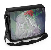 Girl with Red Roses in Hair Laptop Messenger Bag